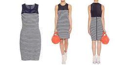 325-NWT-RAG-BONE-Gisele-Dress-Navy-and-white-stripes-mesh-panel-Size-L