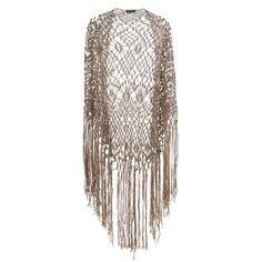 Miss Selfridge Oversized Fringe Crochet Shawl ($49) ❤ liked on Polyvore featuring jackets, outerwear, tops, cardigans, shawl, beige and miss selfridge