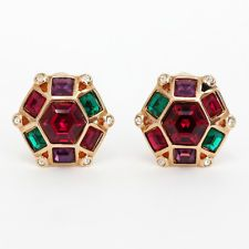Gold plated hexagon shape multi color rhinestones ear clips, signed S... Lot 127