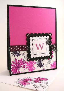 beautiful handmade card ... mostly magenta with black accents ... like the polka dot ribbon and scalloped squares ...