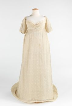 Fine Indian mull was cherished in this period where the sheer quality was the most important aspect of everyday dress.  This particular mull gown, with its tambour embroidery, would have been highly valued by its owner