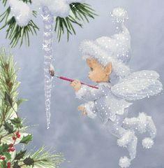 Little snow fairy gif Christmas Scenes, Christmas Pictures, Christmas Angels, Christmas Art, Beautiful Christmas, Winter Christmas, Christmas Decorations, Christmas Ornaments, Christmas Clipart