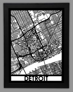 This map of Detroit, Michigan contains all of the historical sites and modern attractions that give this city it's vibrant charm. Whether it's the beautiful Belle Isle, or the Eastern Market, this map displays all of the elements that make this city truly unique! Situated on the Detroit River, this map contains Motor City west of Lake St. Clair. From Palmer Park to Ouellette Ave, Ontario, point out streets you've lived on, and places you've been to with this real city street map of Detroit…