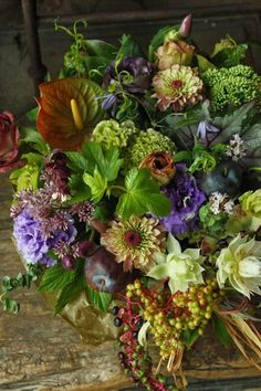 Gorgeous dusky fall floral arrangement