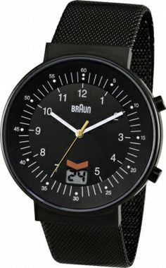 e38dc93352d Braun Men s Quartz Watch with Black Dial Analogue Display and Black  Stainless Steel Strap Radio Controlled