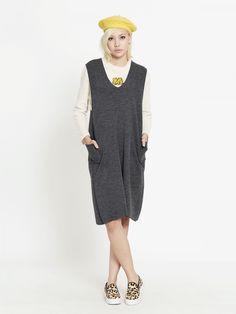 "Shop ""Kitsch Oversized Midi Knit Dress - Dark Gray"" at pomelofashion.com"