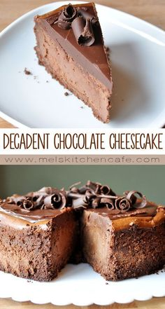 Chocolate Cheesecake - Mel's Kitchen Cafe This decadent chocolate cheesecake is a chocolate lover's dream.This decadent chocolate cheesecake is a chocolate lover's dream. Just Desserts, Delicious Desserts, Dessert Recipes, Yummy Food, Dessert Blog, Top Recipes, Health Desserts, Cupcake Recipes, Chocolate Cheesecake Recipes