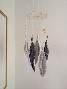 Feather Dreamcatcher Mobilebaby roomwhitegrey by lanilandgoods