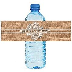"""100 Burlap and Lace personalized Wedding Water Bottle Labels Great for Engagement Bridal Shower Party 8""""x2"""""""