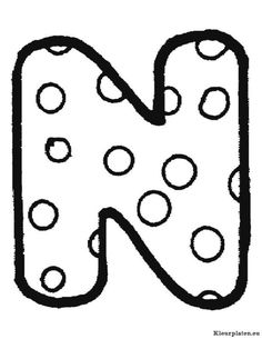 Letter N With Polka Dot Coloring Page From English Alphabet Pattern Category