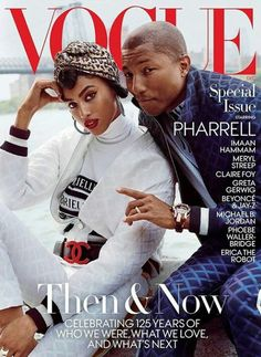 Imaan Hammam and Pharrell Williams on the cover of Vogue US December 2017