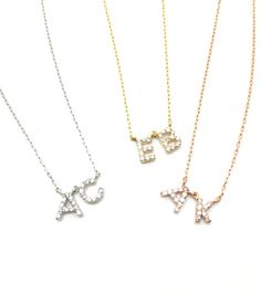 Petit Diamond Initial Necklace – MUSE REFINED