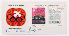 Lance Wyman stamp design for the 1968 Mexico Olympics.