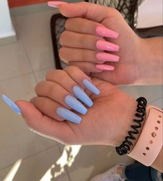 different nails long nails coffin pink nails blue nails pink and blue nails kylie jenner nails cute nails baby shower nails baby pink nails baby blue nails acrylic Blush Pink Nails, Bright Pink Nails, Baby Blue Nails, Pastel Pink, Nail Pink, Acrylic Nails Kylie Jenner, Blue Acrylic Nails, Simple Acrylic Nails, Kylie Nails