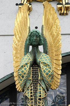 Angel statue ~ Kirche am Steinhof, also called the Church of St. Leopold, a Roman Catholic oratory of the Steinhof Psychiatric Hospital. built between 1903 and 1907 by architect Otto Wagner, mosaics & stained glass by Koloman Moser,, sculptural angels by Othmar Schimkowitz.