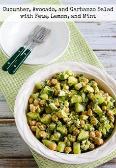 Cucumber, Avocado, and Garbanzo Salad with Feta, Lemon, and Mint Recipe