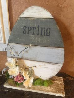 Handmade Wooden Easter Egg, Spring table top decor, Old wood front porch decor #handmade