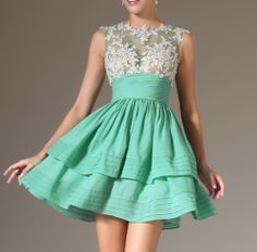 SLEEVELESS APPLIQUED SEXY SHEER BODICE LAYERED A LINE PARTY DRESS