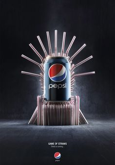 PEPSI - GAME OF STRAWS  Pepsi celebration to the release of the new season of Game of Thrones in Belgium  /Agency: Buzz in a Box/Art Director: Hugo Melas & Jonathan Laurent/Creative Director: Gregory Defay/Account Manager: Laurens Lindemans/Client: Pepsi Belgium/Photography : Jekyll n' Hyde/
