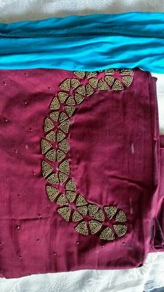 Details and rate ping me 9895473878 Embroidery On Kurtis, Hand Embroidery Dress, Embroidery Works, Embroidery Fashion, Churidar Neck Designs, Kurta Neck Design, Hand Work Blouse Design, Fancy Blouse Designs, Border Embroidery Designs