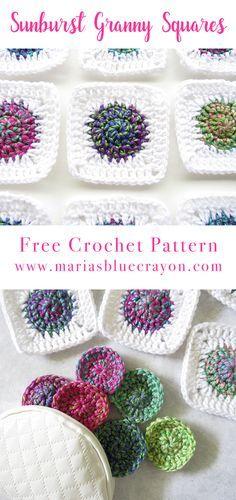 Sunburst Crochet Granny Square | Free Crochet Pattern | Maria's Blue Crayon | Quick and Easy Granny Squares