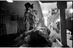 Jimi Hendrix films Janis Joplin backstage at Winterland, San Francisco, 1968.