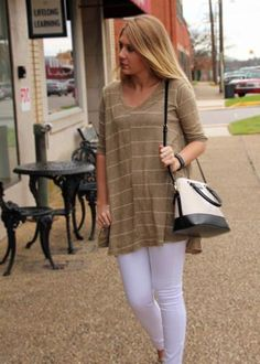 We love booties and a good soft tunic in the crisp fall air. This basic top makes a great fall outfit!