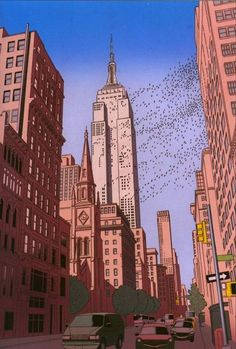 Guy Billout - Illustration - Empire State Building in Flight Marble Painting, City Painting, Oil Painting Abstract, Artist Painting, Ligne Claire, Abstract City, City Illustration, City Aesthetic, Art Graphique