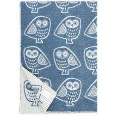OWL BLANKET, BLUE-WHITE