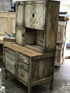 Old Hoosier cabinet restored using General Finishes products and Iron Orchid Transfers via Honey Do This Laurel MS