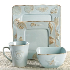 Dine in a coastal inspired style with this four piece place setting. This dinnerware set  sc 1 st  Pinterest & Provence 16 Pc Dinnerware Set in Blue or White Love the pale blue ...