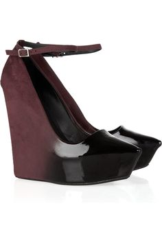 THEYSKENS' THEORY Patent-leather and suede ombré wedges $260