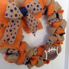 For all you Broncos Fan...this is really cute! Broncos Burlap Wreath 1820 inches by onceuponaflowerbyMW on Etsy