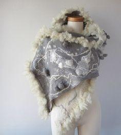 Nuno felted scarf Grey White Fur curles locks shibori by galafilc