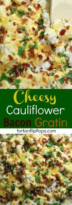 Cheesy Cauliflower Bacon Gratin is a low carb, fail-proof dish that will surely please a crowd. It is baked in a cheesy cream sauce smothered in grated cheddar and fresh parsley garnish. This quick side dish pairs great with any main dish.