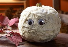 Glow In The Dark Mummy Pumpkin with Mod Podge