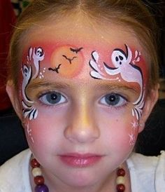 When you think about face painting designs, you probably think about simple kids face painting designs. Many people do not realize that face painting designs go Halloween Face Paint Designs, Face Painting Halloween Kids, Painting For Kids, Halloween Make Up, Halloween Ghosts, Halloween Facepaint Kids, Halloween Halloween, Halloween Costumes, Halloween Drinks