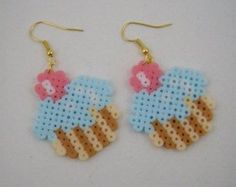 Handmade earrings / Hama beads / Perler beads / cup cake