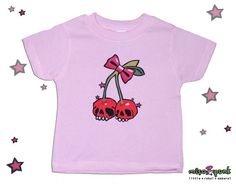Cherry Skulls Rockabilly Baby and Toddler Tees / Onesie by misopunk.com, $15.00