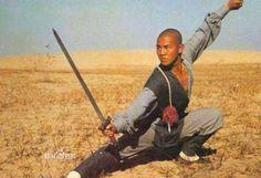 "Jet Li in movie ""ShaoLin Temple."" Martial artist make wielding a sword into a true well, art."