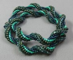 Basic Brick Stitch with Beads Class: When you spiral different sizes of beads, you get this really cool result! We use size 11/o Toho triangles with 8/os, 11/os, and sizes 10/o and 11/o Delicas in this class.