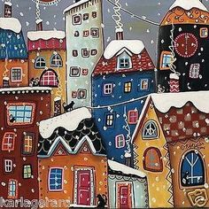 Gingerbread houses of the artist Karla Gerard - Fair . - Gingerbread houses of the artist Karla Gerard – Fair Masters – handmade, handmade - Art Fantaisiste, Karla Gerard, Winter Cat, Fall Winter, House Quilts, Decoupage Vintage, Arte Popular, Naive Art, Whimsical Art
