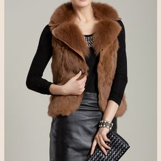 fox collar short rabbit fur vest