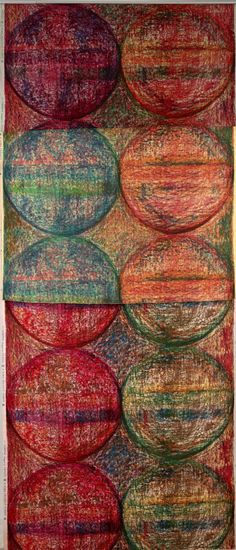 Shirley Craven: Compass, for Hull Traders.  A vertical repeat design of circles in blues, reds and oranges with a textured, wax crayon-like background.