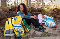 backpacks, book totes, grocery bags, lunch bags and handbags from recycled items.