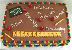 {How adorable is this Back To School Cake from The Twisted Sifter? The colors, the encouraging words, the tiny apples and of course the ruler are amazing! Teacher Birthday Cake, Teachers Day Cake, Teacher Cakes, Teacher Party, Happy Birthday Cupcakes, Birthday Cakes, Math Teacher, Birthday Ideas, Back To School Party