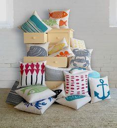 Colorful Coastal Pillows | Maine Cottage