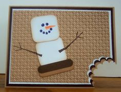 """handmade caed celebrating Smores -- cute! ... marsmallow punch art snowmaan ... """"bite"""" out of the corner of the card ..."""