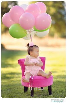 one year old pettiromper high heels necklace pearls necklace pink black outdoor portrait photo session birthday girl baby cake smash park lace studio picture  balloons white green grass lawn https://www.facebook.com/anneschillingsphotography www.thehairbowcompany.com @TheHairBowCo