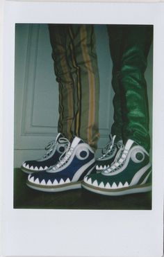 Walter Van Beirendonck Backstage Fashion Week Polaroid PIctures. Dazed & Confused Magazine. Crocodile shoes
